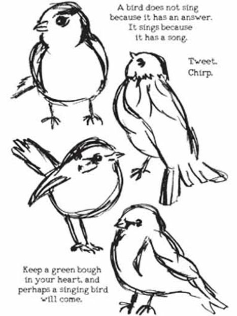 Ranger Dina Wakley Stamp Set~Scribbly Birds