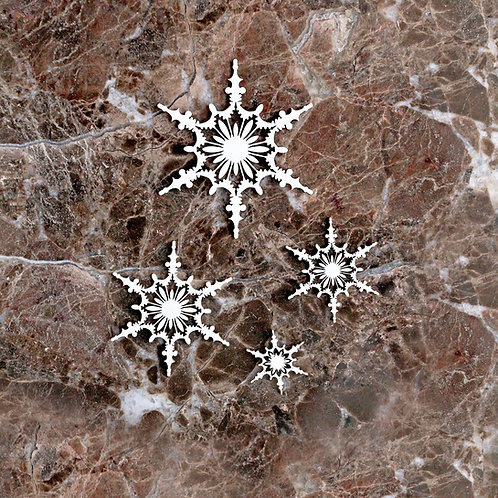 Beautiful Board Medium Shabby Snowflakes Two Set Of 4 Laser Cut Chipboar