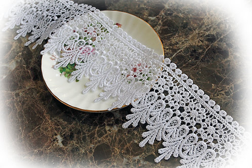 Venetian Embroidered Lace~ White