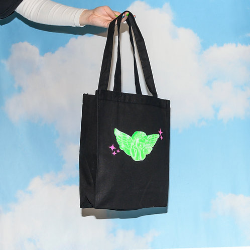 """""""little baby angel"""" tote green"""