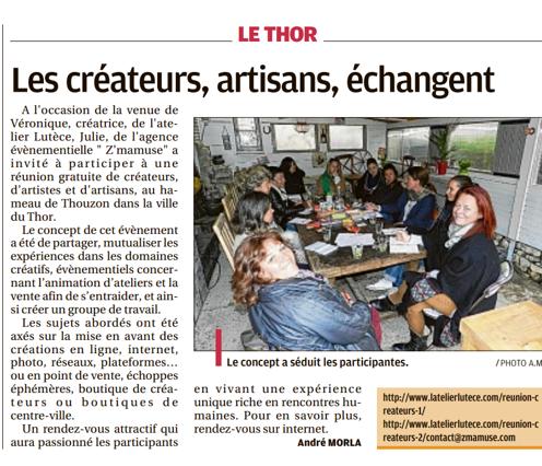 Article Réunion créateurs La Provence 7mai