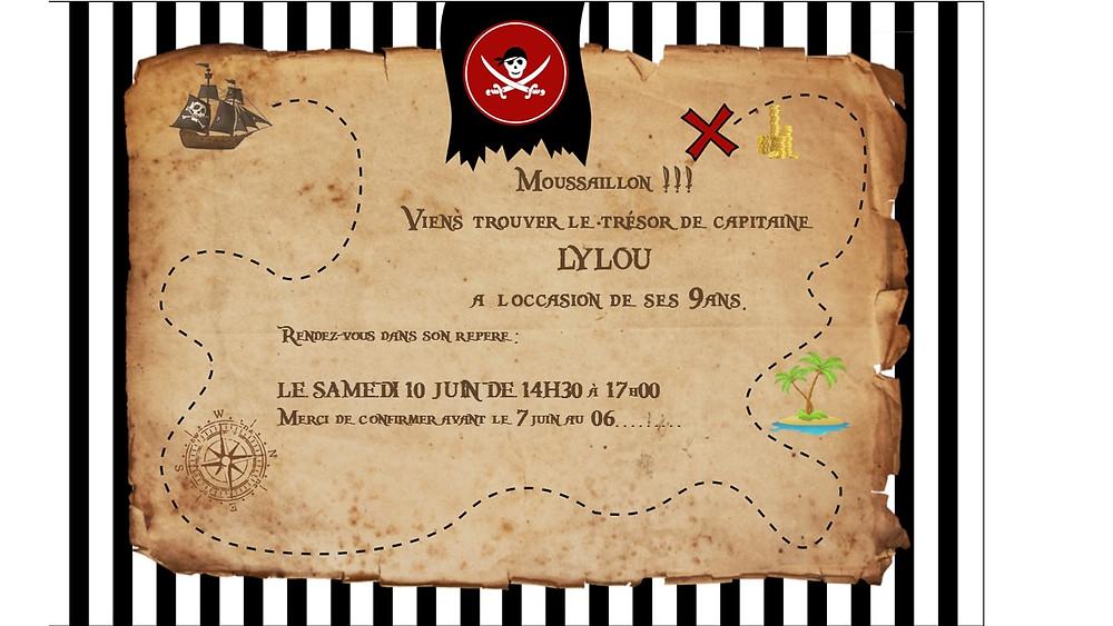 Personnaliser votre invitation pirate en téléchargeant le modèle vierge sur partyummy.com/