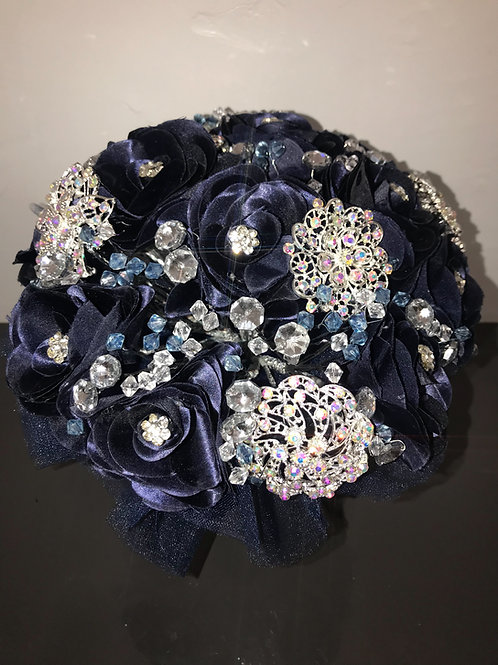 Navy Blue with Silver Bouquet