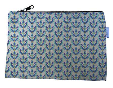 Blue and Purple Flowers Canvas Zipper Bag