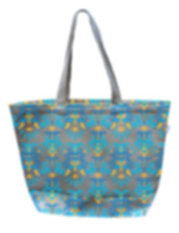 Blue and Gold Canvas Tote