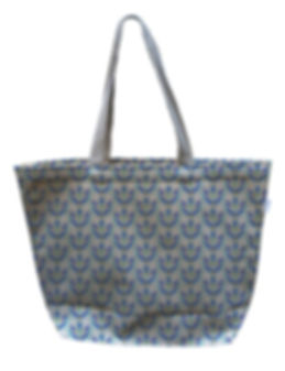 Blue and Purple Flower Canvas Tote