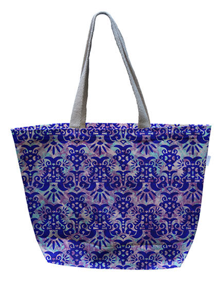 Purple Flower Canvas Tote