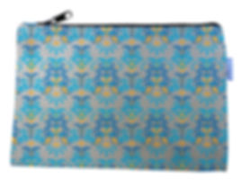 Blue and Gold Flowers Canvas Zipper Bag