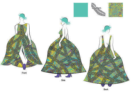 Fashion Illustration: Turquoise & Yellow Dress