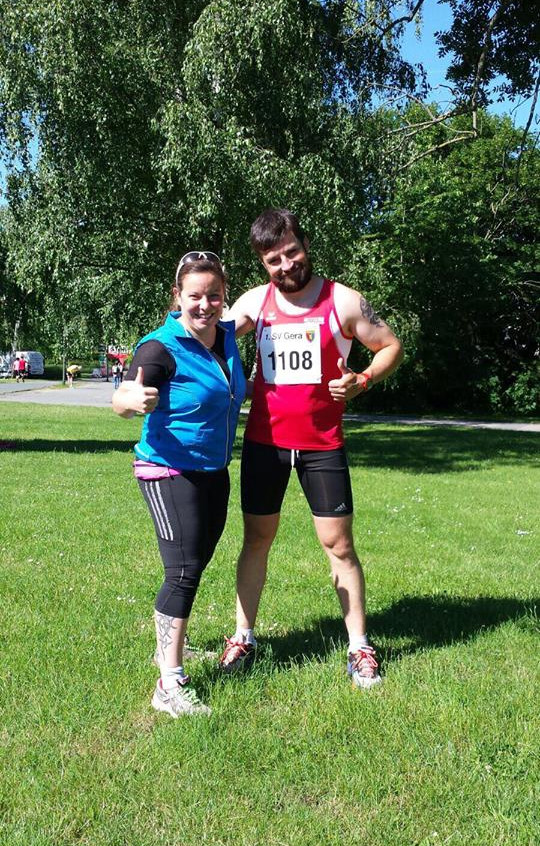 Antje Lorenz & Denny Trefflich beim Elstertalmarathon in Gera