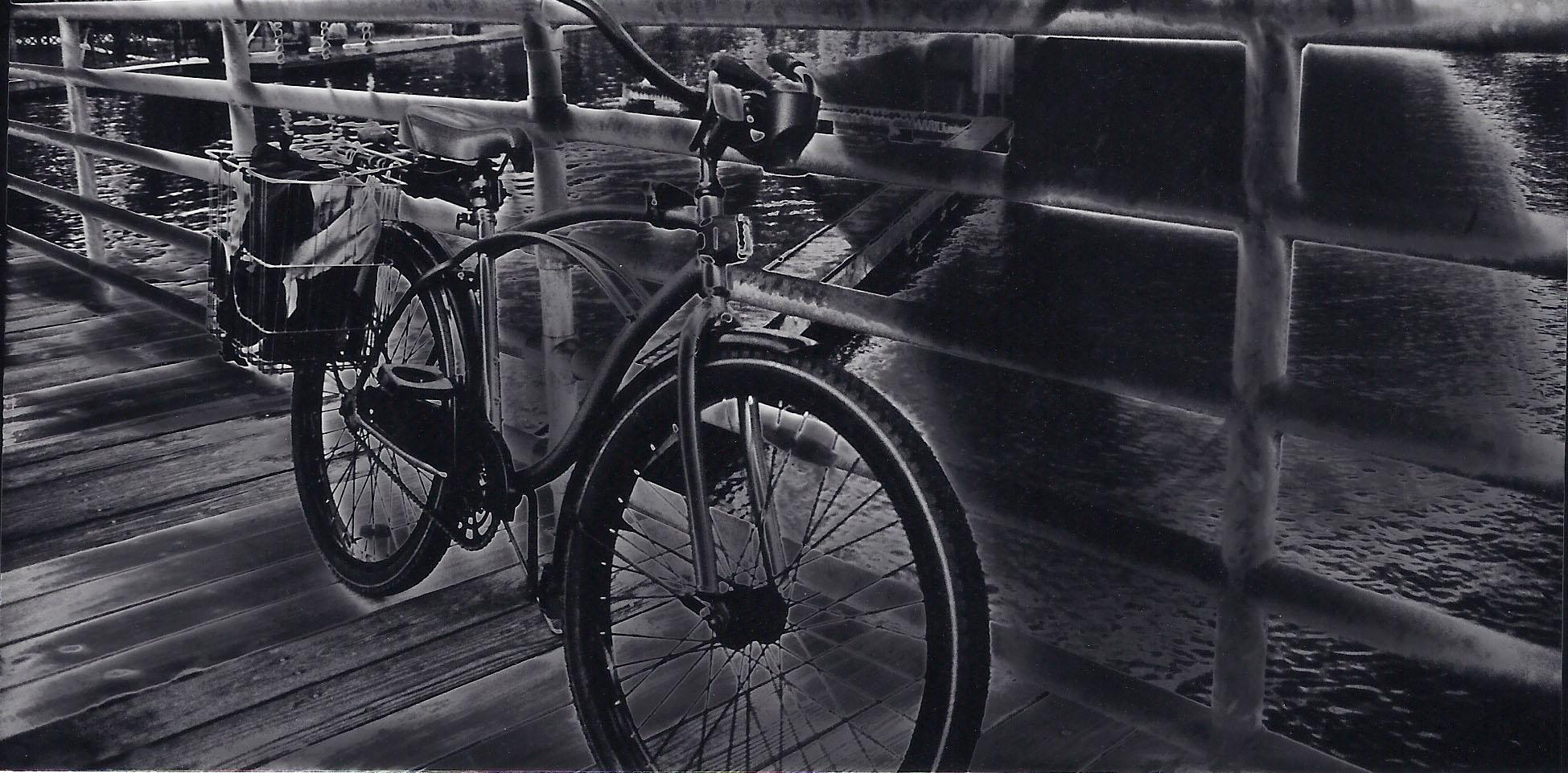 Solarization of Bike on Swing Bridge