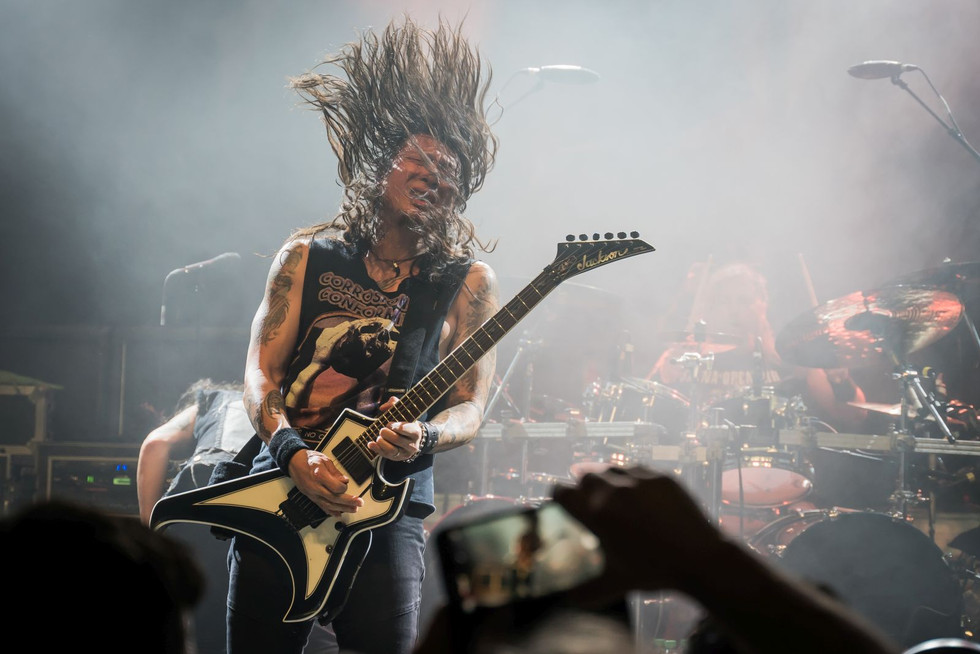Rob Cavestany, Death Angel, at O2 Forum Kentish Town, London, 6 March 2020