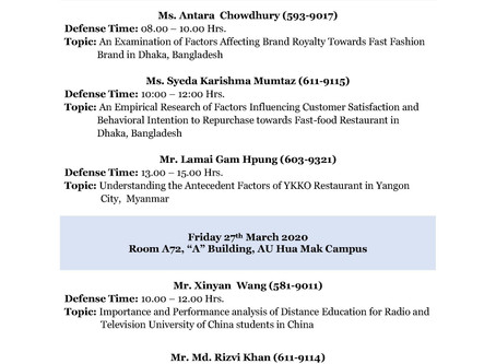 Thesis Final Defense Schedule of March 2020