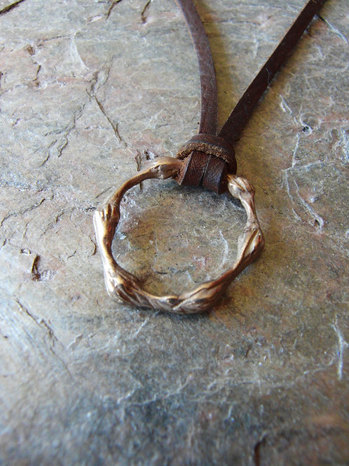 "Bronze Pendant on leather ""Knotted Loop"""