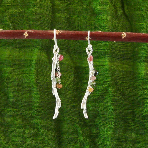Twig Earrings with Tourmaline