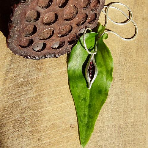 Pea Pod Pendant with Garnets