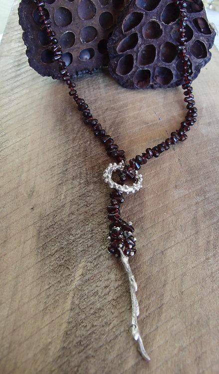 Twig through Wreath on beaded Garnet necklace