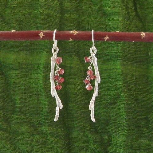 Twig Earrings with Garnets