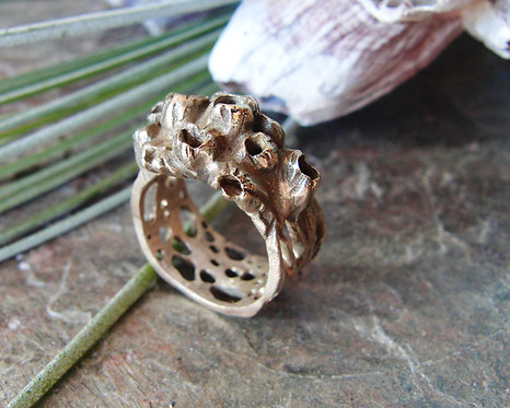 "Bronze Ring ""Barnacle Cluster"" (wide)"
