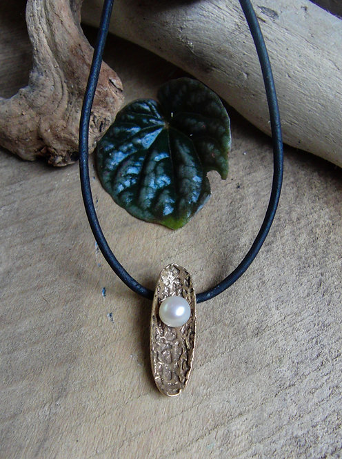 Oval Petal Pendant with Pearl