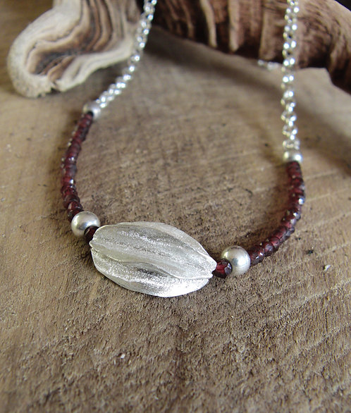 Half Pod Necklace with Garnets