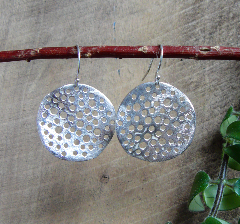 """Large Disc with holes"" Earrings"