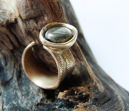 """Floating Pebble on Sage"" Ring"