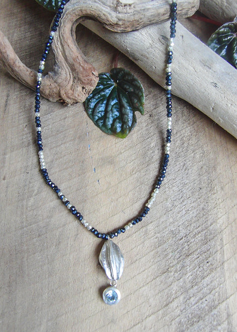 Half Pod Necklace with Spinel/Topaz