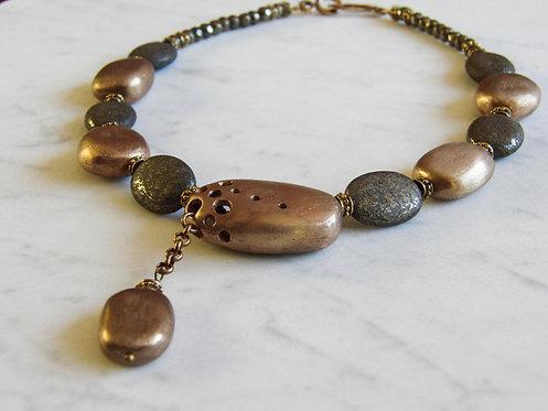 Pebble-Pyrite Necklace