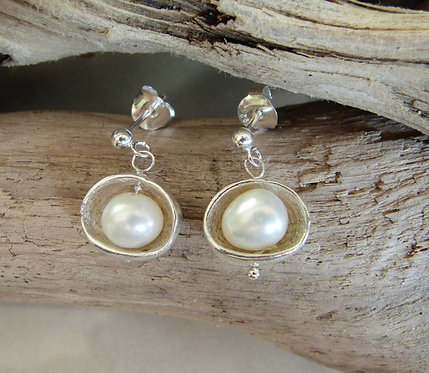 Large Pebble Earrings with Pearls
