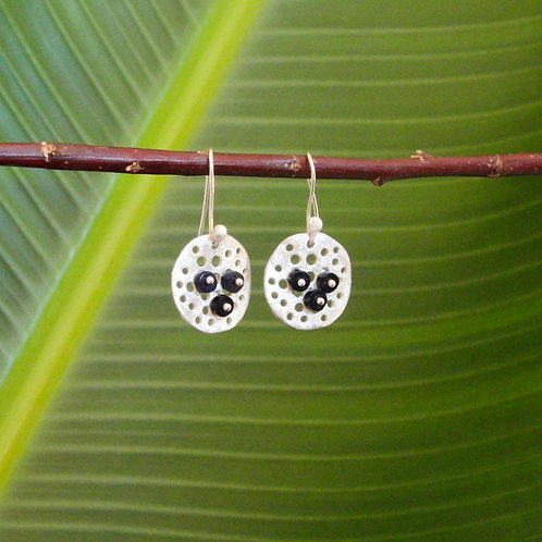 """3 Sodaline beads on a disc"" Earring"
