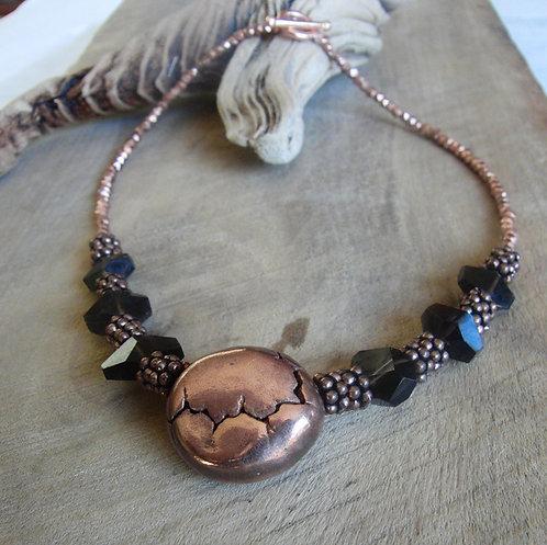 Copper and Smoky Quarz Necklace
