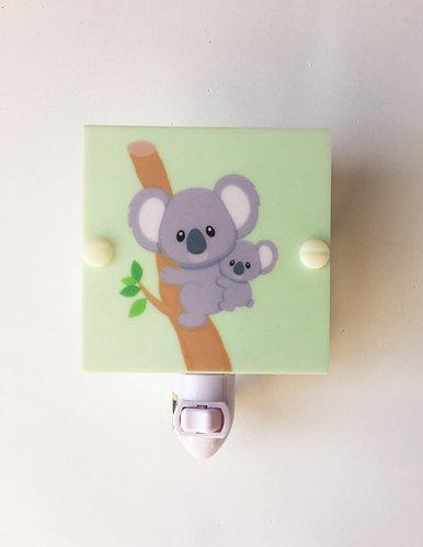 "Koala Mom & Baby Night Light 4"" Square with LED Free Shipping"