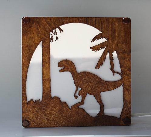 Dinosaur T-Rex Laser Cut Wood Lamp Table-Top or Hanging
