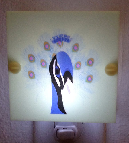 Peacock Blue & Black & Green Night Light Hand Made with LED Bulb Free Shipping