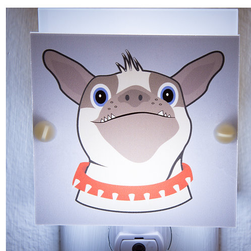 Pug Caricature Night Light Blue & Brown Hand Made with LED Bulb & Free Ship