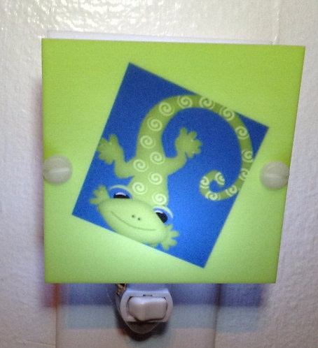 Lizard LED Night Light Blue & Green Hand Made With LED & Free Shipping