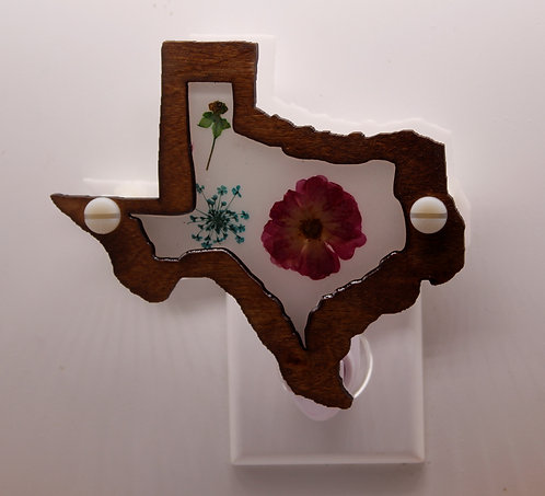 Texas Wood LED Night Light with Natural Pressed Flowers