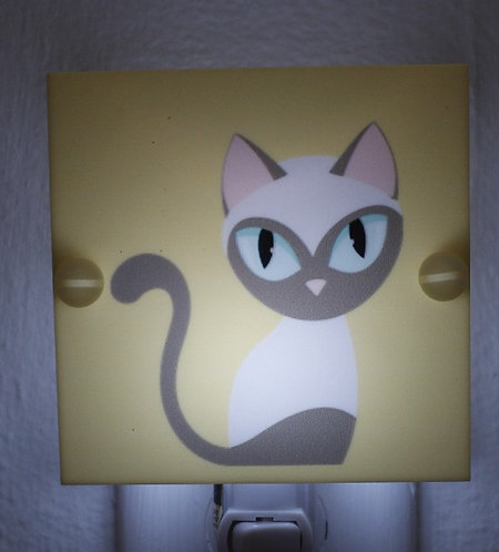 Siamese Cat Adorable Kitten Yellow Night Light with LED & Free Ship
