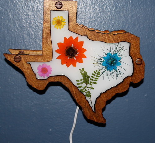 Texas Shape Decorative LED Lamp With Natural, Pressed Flowers
