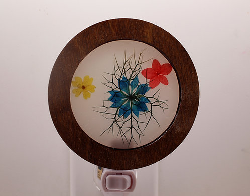 Wood Decorative LED Night Light with Natural Pressed Flowers