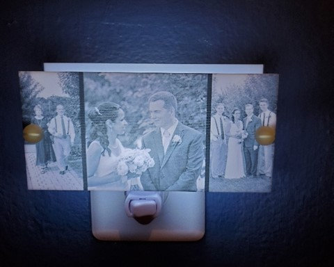 """Photobooth Inspired Night Light featuring three of your favorite photos 6"""" x 3"""""""