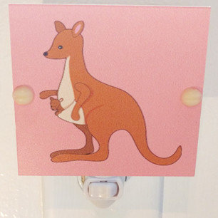 """SALE Kangaroo with Baby in Pouch LED Night Light 4"""" Square Free Shipping"""
