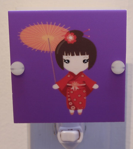 Beautiful Asian Girl with Parasol & Kimono LED Night Light Hand Made Free