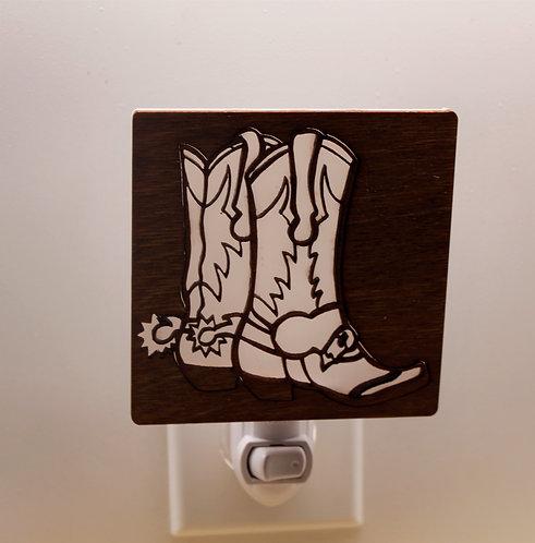 Cowboy Boots Wood Laser Cut LED Night Light