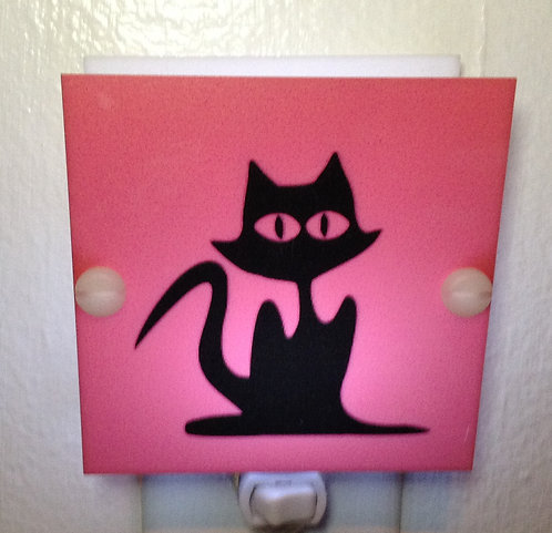 Black & Grey Cat Pink Night Light Hand Made with LED Bulb & Free Ship