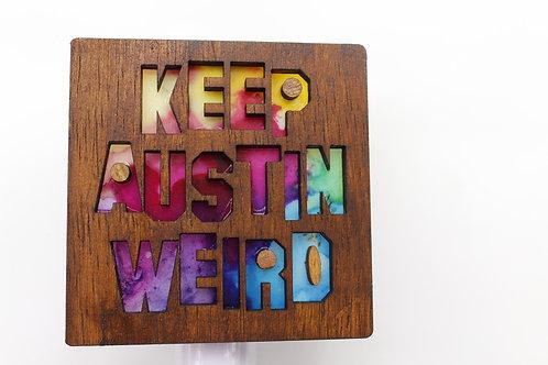 Keep Austin Weird Multicolor Wood LED Night Light