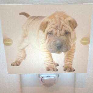 """Adorable Shar Pei Puppy Hand Made Night Light 4"""" Square with LED Bulb Free Ship"""