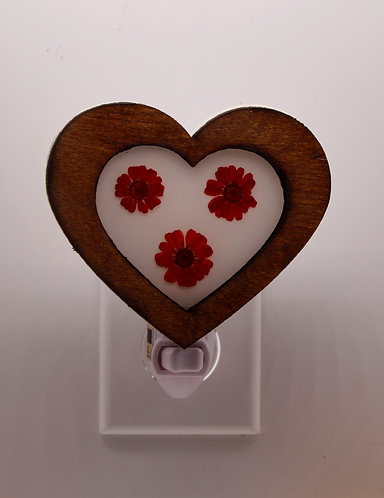 Heart Shaped Wood Night Light Wood with Pressed Natural Flowers