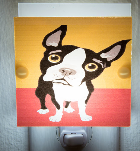 Boston Terrier Caricature Red and Yellow Night Light Hand Made With LED and Free
